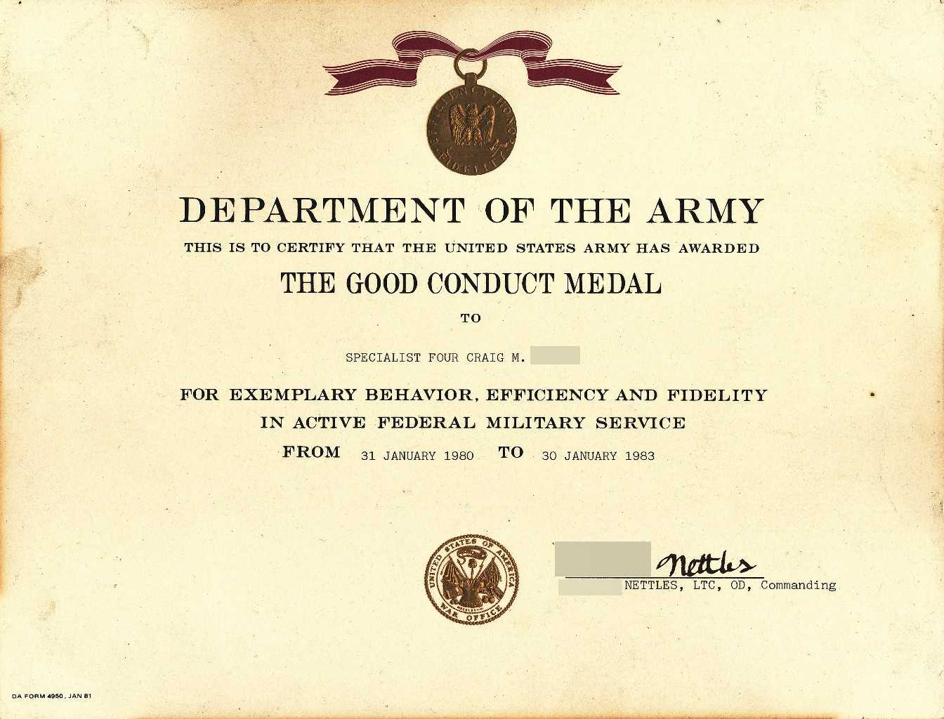 X12's Past Awards With Army Good Conduct Medal Certificate Template