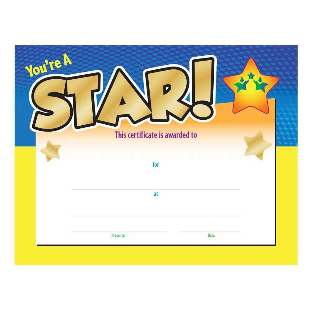 You're A Star! Award Gold Foil Stamped Certificate Inside Star Award Certificate Template